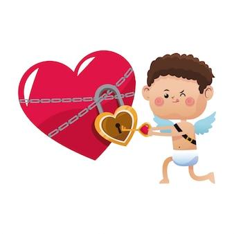 Mignon petit jour de la saint-valentin cupidon a ouvert le verrouillage du coeur