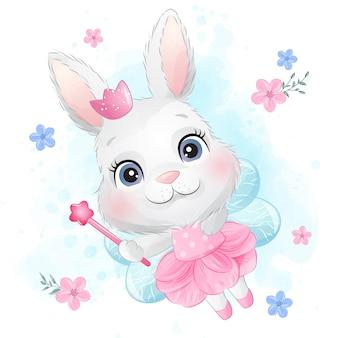 Mignon petit lapin avec une baguette magique