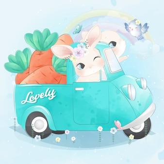 Mignon petit lapin conduisant une voiture