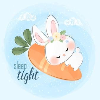 Mignon petit lapin dormant sur une illustration de carotte
