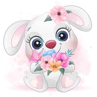 Mignon petit lapin avec effet aquarelle