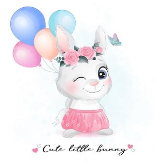 Mignon petit lapin avec illustration aquarelle