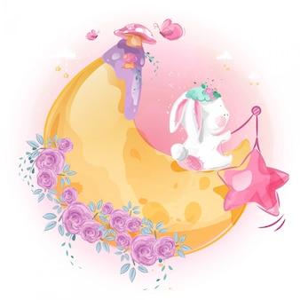 Mignon petit lapin et lune dans le ciel lumineux.