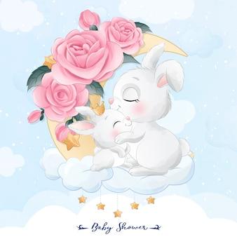Mignon petit lapin mère et bébé assis dans l'illustration de la lune