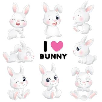 Mignon petit lapin pose avec illustration aquarelle