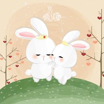Mignon petit lapin qui s'embrasse
