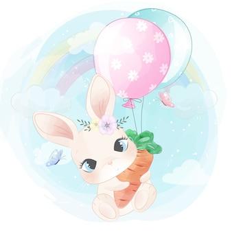 Mignon petit lapin volant avec ballon