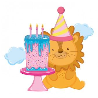 Mignon et petit lion avec chapeau de fête