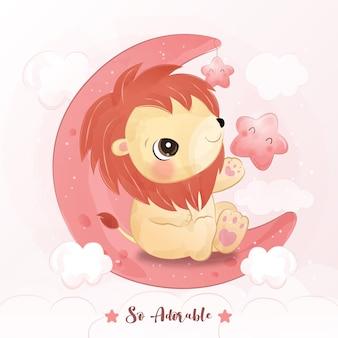 Mignon petit lion en illustration aquarelle