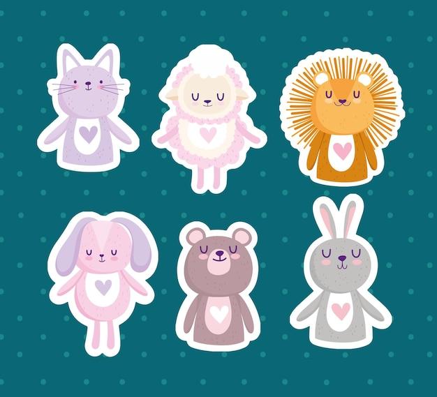 Mignon petit lion lapin chat ours mouton dessin animé autocollants vector illustration