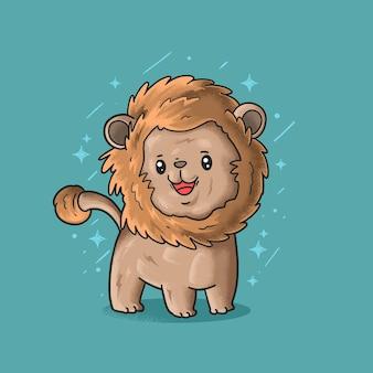 Mignon petit lion souriant illustration grunge