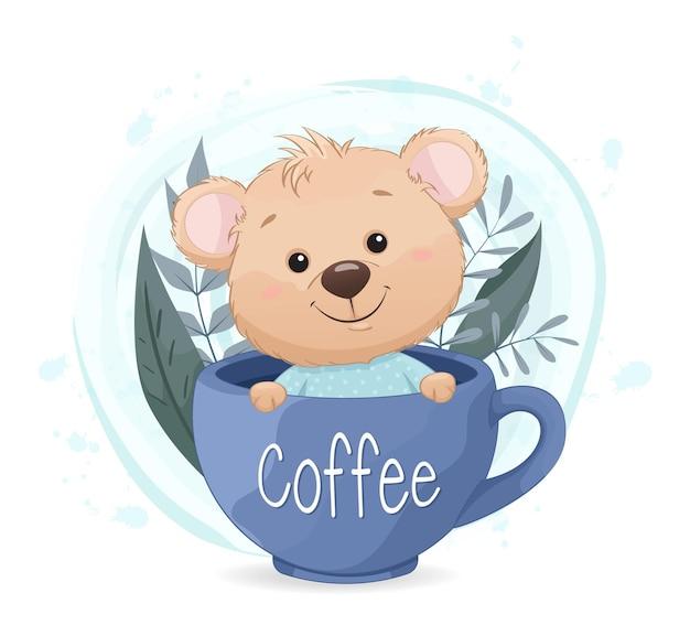Mignon petit ours assis dans une grande tasse