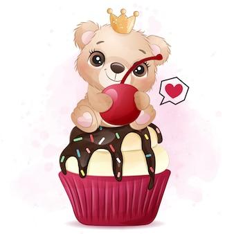 Mignon petit ours assis dans l'illustration de cupcake