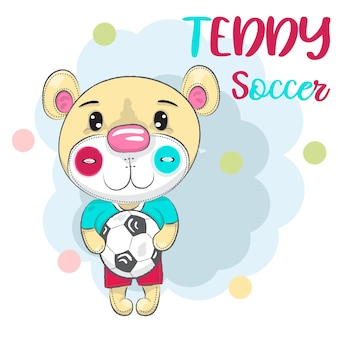 Mignon petit ours avec un ballon de football