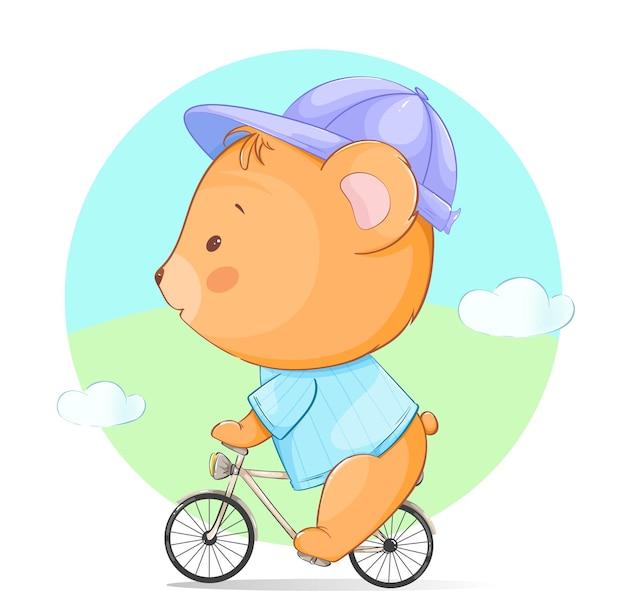 Mignon petit ours à bicyclette ours de personnage de dessin animé drôle