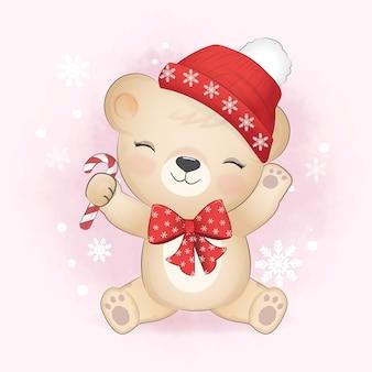 Mignon petit ours et canne en bonbon, illustration de la saison de noël