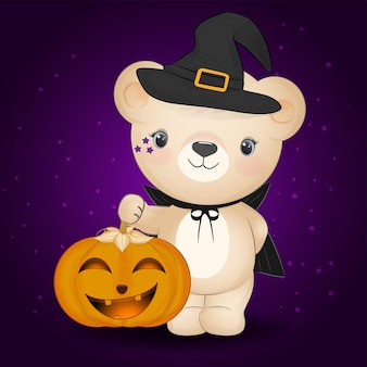 Mignon petit ours et citrouille dessinés à la main animal cartoon illustration halloween