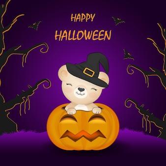Mignon petit ours et citrouille halloween illustration