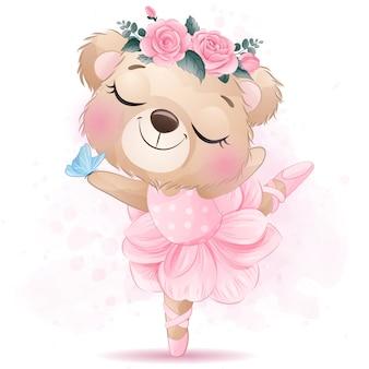 Mignon petit ours avec danse classique