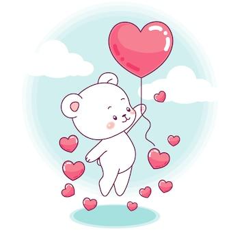 Un mignon petit ours décolle avec un ballon en forme de cœur