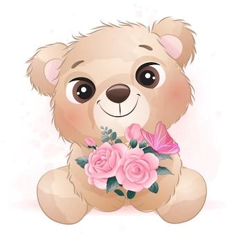 Mignon petit ours avec effet aquarelle