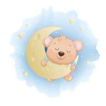 Mignon petit ours endormi sur la lune