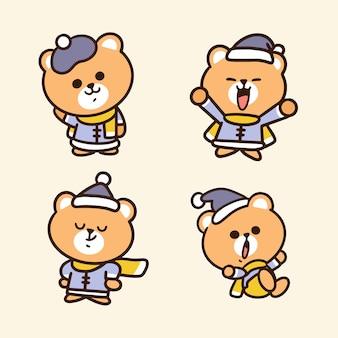 Mignon petit ours en illustration de griffonnage tenue d'hiver