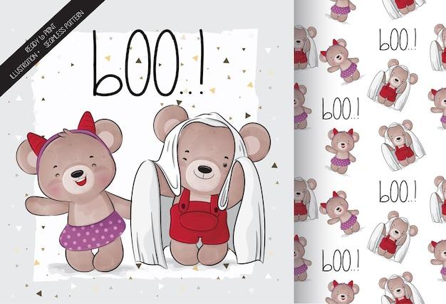 Mignon petit ours joyeux halloween avec motif transparent
