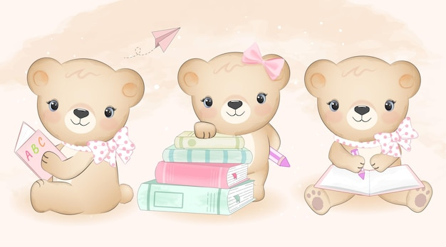 Mignon petit ours et livre mis illustration dessinée à la main