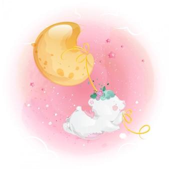 Mignon petit ours et lune dans le ciel lumineux.