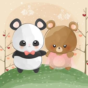Mignon petit ours et panda se promène ensemble