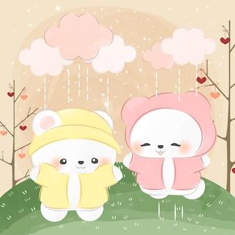 Mignon petit ours polaire et jour de pluie
