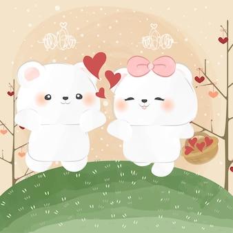 Mignon petit ours polaire répandre l'amour