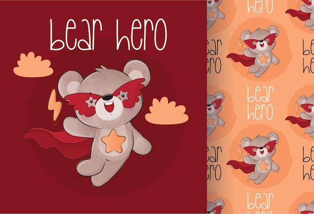 Mignon petit ours super héros avec motif sans couture tempête