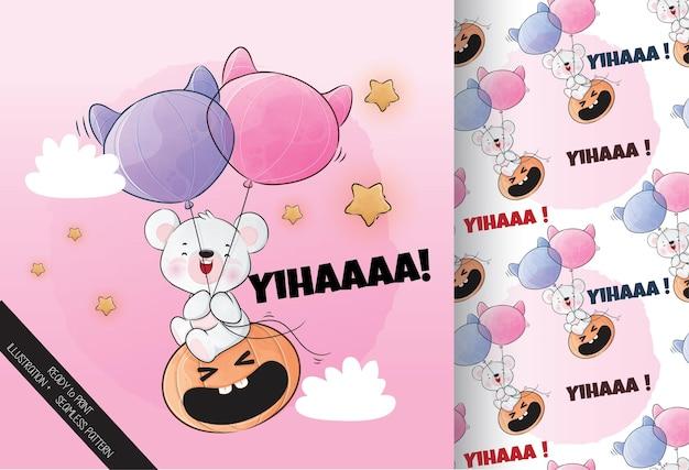 Mignon petit ours volant citrouille joyeux halloween avec motif sans couture