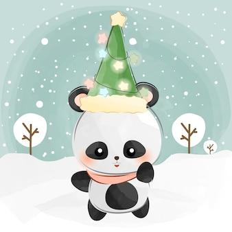 Mignon petit panda et chapeau de noël