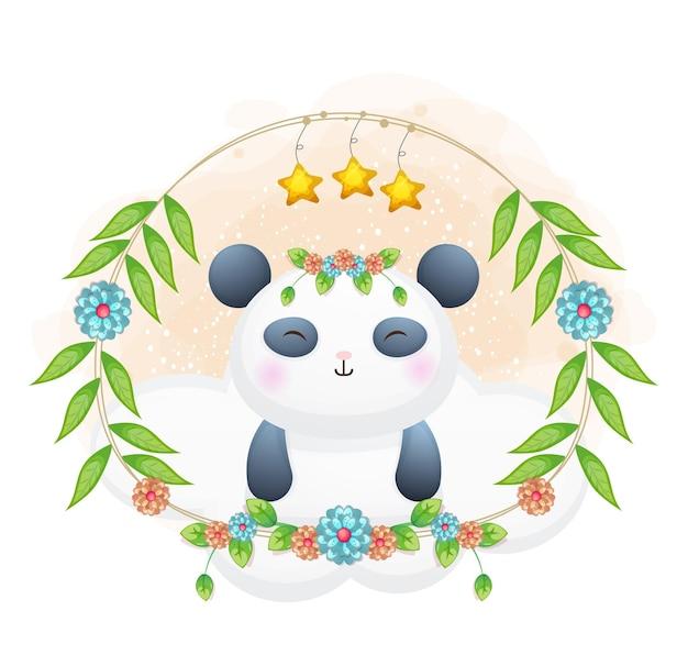 Mignon petit panda avec dessin animé floral