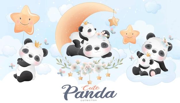 Mignon petit panda avec jeu d'illustration aquarelle