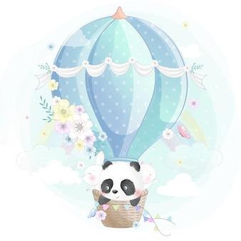 Mignon petit panda, lapin et minou dans la montgolfière
