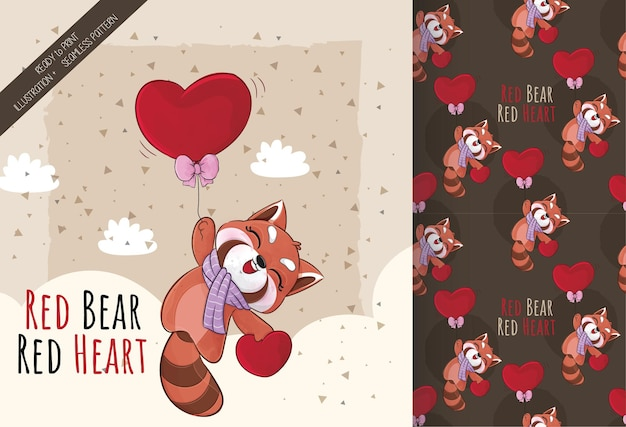 Mignon petit panda roux heureux de voler avec illustration de coeur rouge illustration et ensemble de motifs