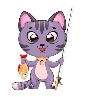 Mignon petit personnage de dessin animé de chat avec canne à pêche et poisson