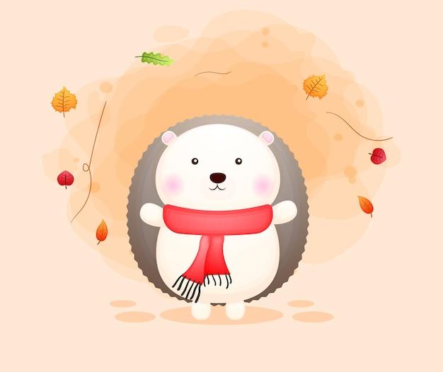 Mignon petit personnage de dessin animé hérisson automne