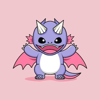 Mignon petit personnage de dragon bébé souriant