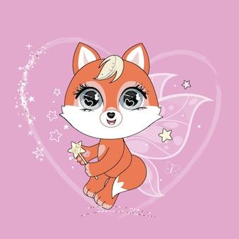 Mignon petit personnage de fée de renard avec des ailes de papillon