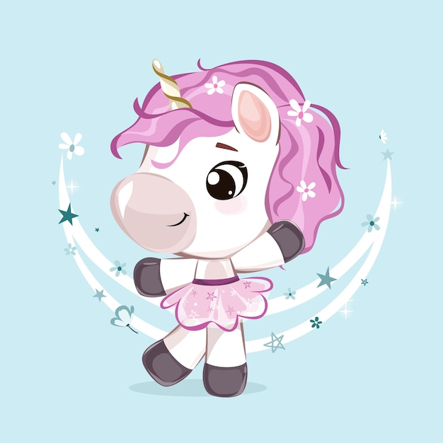 Mignon petit personnage de licorne dans des couleurs pastel modernes. illustration isolée sur fond rose.