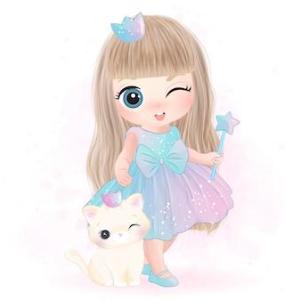 Mignon petit personnage de princesse et de chat
