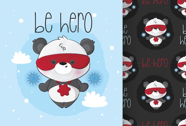 Mignon petit personnage de super héros panda avec motif sans couture