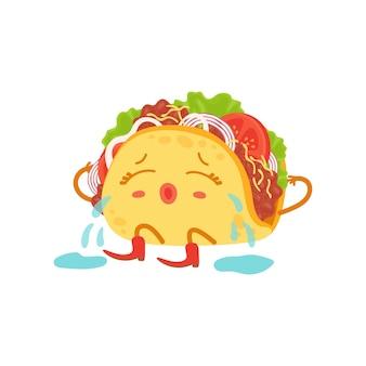 Mignon petit personnage de taco assis et pleurant
