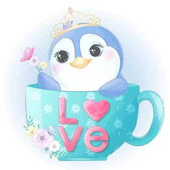 Mignon petit pingouin assis à l'intérieur d'une tasse à café