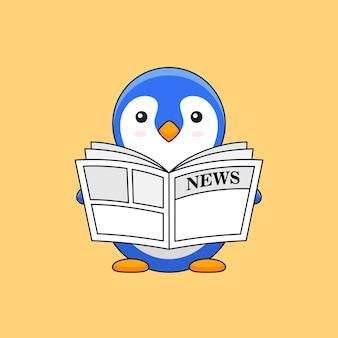 Mignon petit pingouin lire la mascotte d'illustration de contour de journal